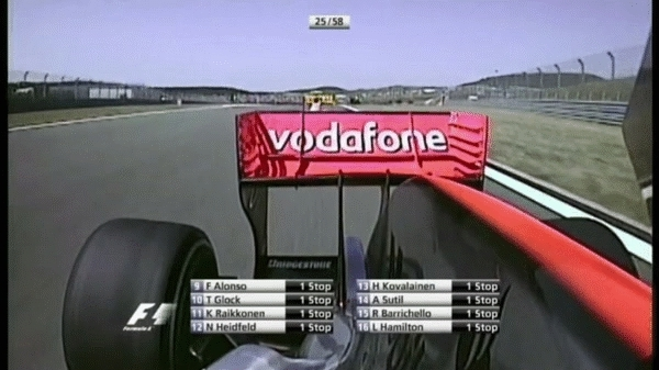 formula1gifs, 2009 Turkish GP - Nelson Piquet Jr overtakes Lewis Hamilton. (reddit) GIFs