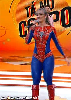 spider-man babe bodypaint hot ass booty gif  cosplay ta no carpo GIFs