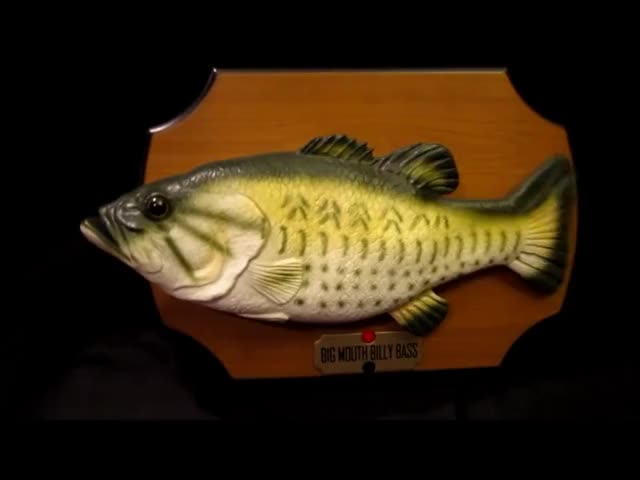 """Watch Gemmy Billy Bass  Animatronic Fish Singing """"Don't Worry be happy.wmv GIF on Gfycat. Discover more related GIFs on Gfycat"""