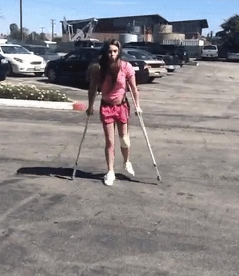 mckaylamaroney, On crutches (1MIC) (reddit) GIFs
