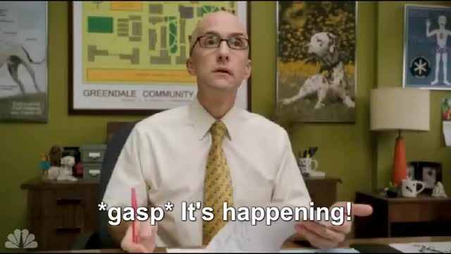 Watch It's happening! GIF by @ellimis on Gfycat. Discover more Jim Rash GIFs on Gfycat