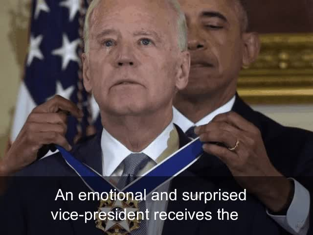 Watch and share Tearful Joe Biden Awarded Freedom Medal By Obama - BBC News GIFs on Gfycat