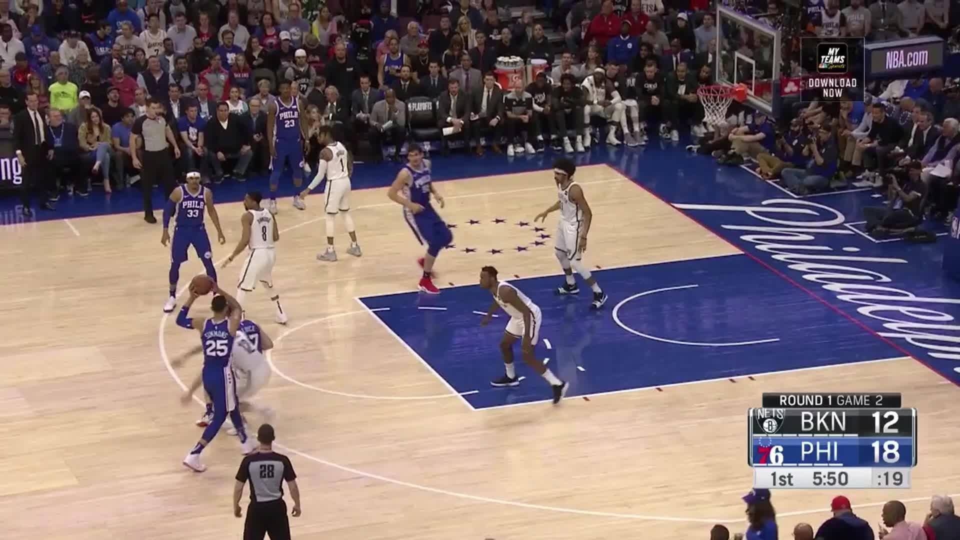 Ben Simmons, Brooklyn Nets, NBA, Philadelphia 76ers, basketball, Simmons Redick two man game_Brooklyn Game 2 GIFs