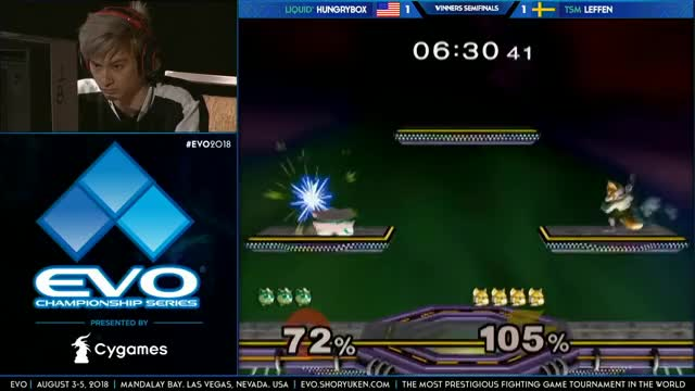 EVO 2018: Melee Top 8 Hungrybox Vs. Leffen (Fox)