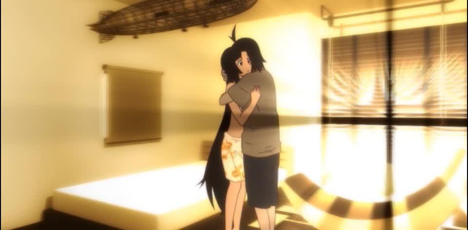 animegifs, Imouto Hug [Tsukimonogatari] (reddit) GIFs
