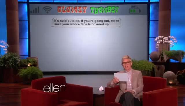 Watch Ellen. GIF on Gfycat. Discover more Clumsy Thumbsy, Ellen, Ellen DeGeneres, Funny GIFs on Gfycat