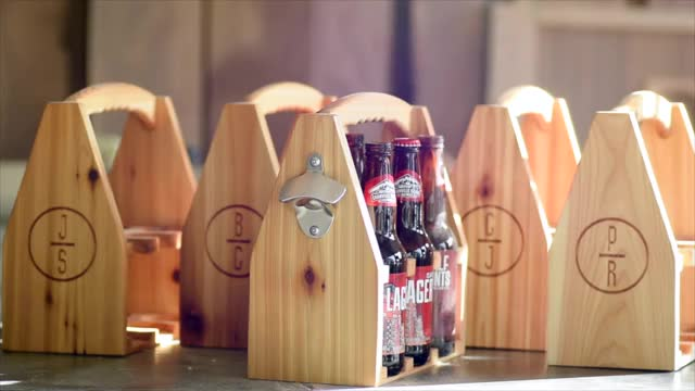 Watch I made a set of personalized beer caddies for a friend's groomsmen. (reddit) GIF on Gfycat. Discover more somethingimade, woodworking GIFs on Gfycat