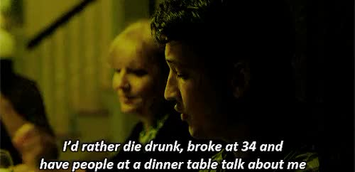 """Watch """"Dying broke and drunk and full of heroin at the age of 34 i GIF on Gfycat. Discover more *filmgif, 2014 films, damien chazelle, films, miles teller, milestelleredit, mtelleredit, whiplash, whiplash*, whiplashedit GIFs on Gfycat"""