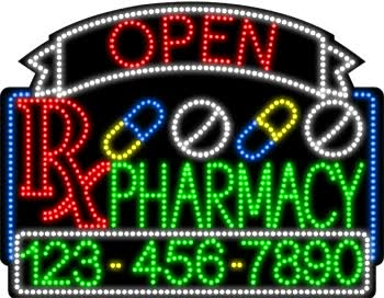 Watch and share Pharmacy Open And Closed With Phone Number Animated LED Sign GIFs on Gfycat