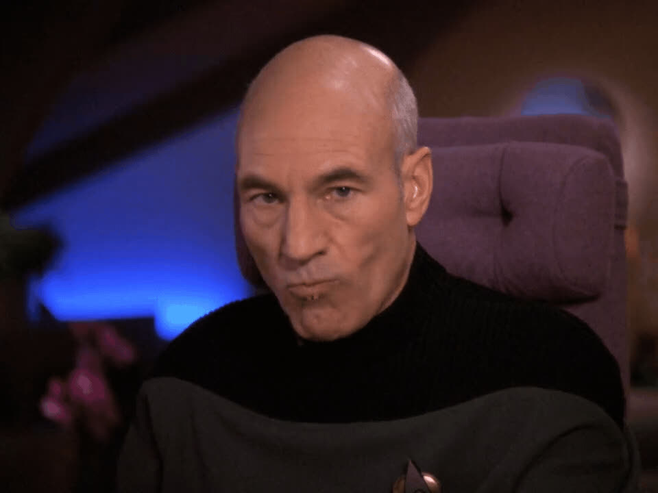 AnneBancroftsGhost, Captain Picard, Jean-Luc Picard, Patrick Stewart, Picard, Reaction, Star Trek, Star Trek The Next Generation, TNG, The Next Generation, when the steak comes out well done GIFs