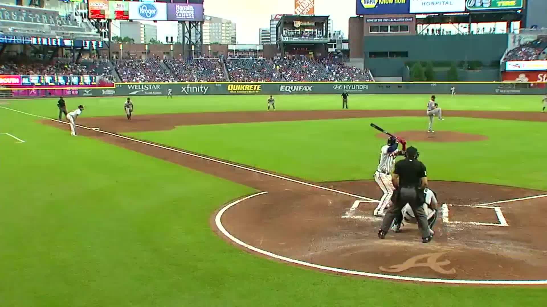 atlanta, baseball, braves, Better view of Adeiny Hechavarria's bat flip. GIFs