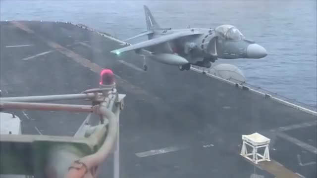Watch and share Harrier With Failed Front Landing Gear Lands On A Stool On The USS Bataan (reddit) GIFs on Gfycat