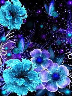 Watch and share Анимация Сверкающие Фиолетово-голубые Цветы, By DX, Гифка GIFs on Gfycat