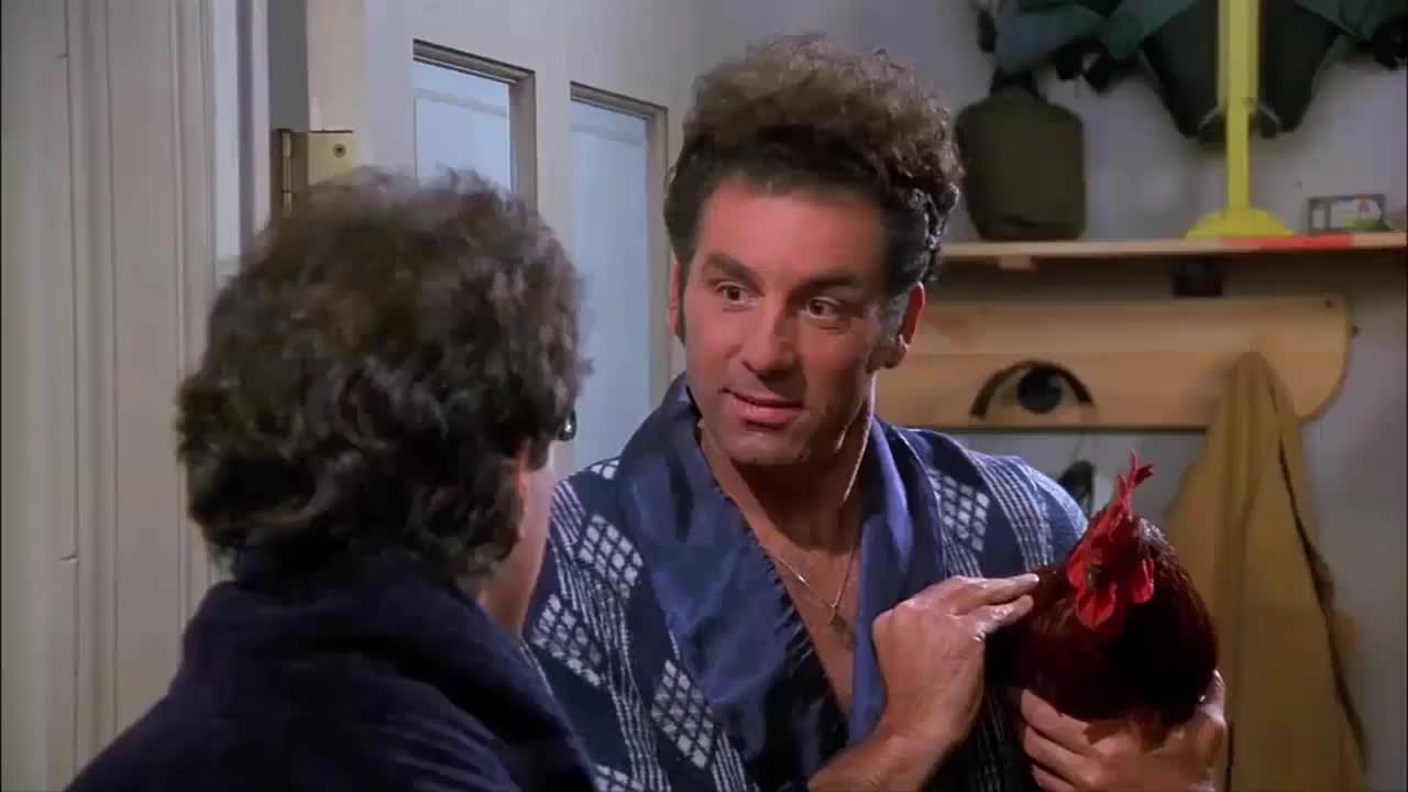 chicken, jerry seinfeld, kramer, michael richards, rooster, seinfeld, Little Jerry The Rooster Kramer Seinfeld GIFs