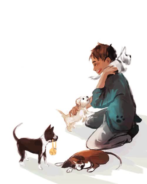Watch little erne befriending all the neighborhood puppies|| a bit GIF on Gfycat. Discover more (does this make sense to anyone? linguist junkies? or.. slavs? i dONT KNOW HAHA sorry), GIF, animation, dogs, eren jaeger, eren yaeger, he's a trainwreck, i also like the boxer, maluju, my bestie has a boxer and i call him vagon, snk GIFs on Gfycat