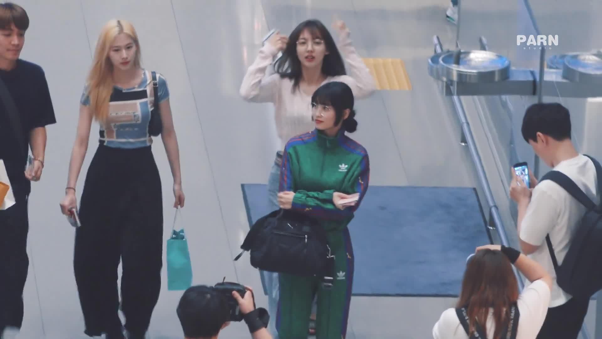 celebs, kpop, sana, twice, Cutie glasses Nayeon wave GIFs