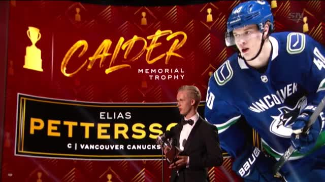 Watch Elias Pettersson's Calder acceptance speech GIF by Beep Boop (@hockeyrobotthing) on Gfycat. Discover more hockey GIFs on Gfycat