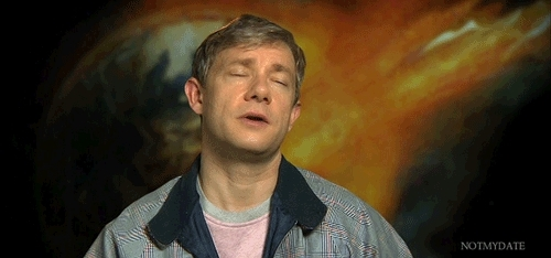 martin freeman, oliver chamberlain, the world's end, your face sir, Martin Freeman | The World's End interview.Just look at him. GIFs