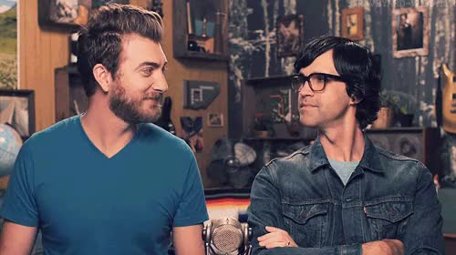 "Watch ""All right, business model, let's see how smart you are."" [x GIF on Gfycat. Discover more Rhett and Link, giggles, gmm, gmm 712, good mythical morning, grave gif GIFs on Gfycat"