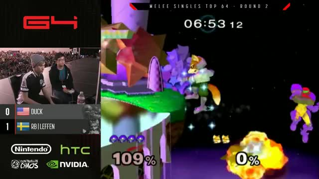 Genesis 4 SSBM - Duck (Samus) Vs. TSM RB | Leffen (Fox) Smash Melee Winners Ro16
