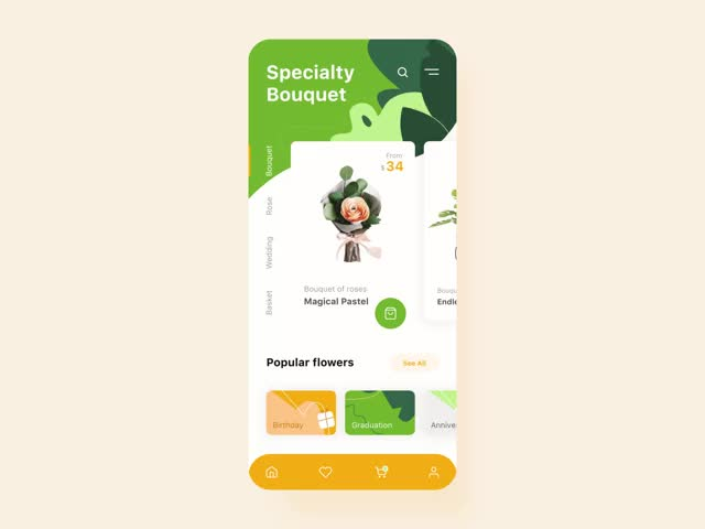 Watch and share Flower Store Mobile Application Interaction GIFs by BDW on Gfycat