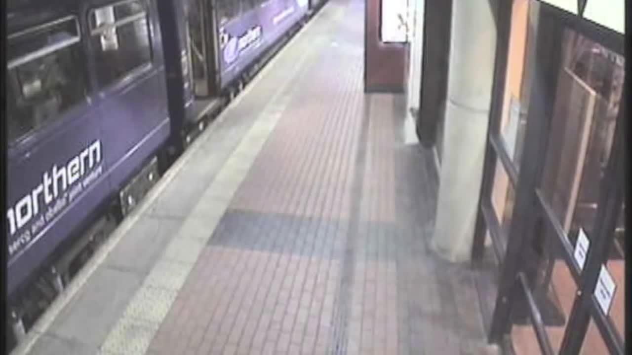 drunk, falls, woman, Drunk woman falls underneath train at Barnsley station UK GIFs