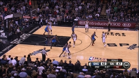 nba, nbaspurs, Hammer Play: Manu cross court pass to Danny Green for 3 (reddit) GIFs