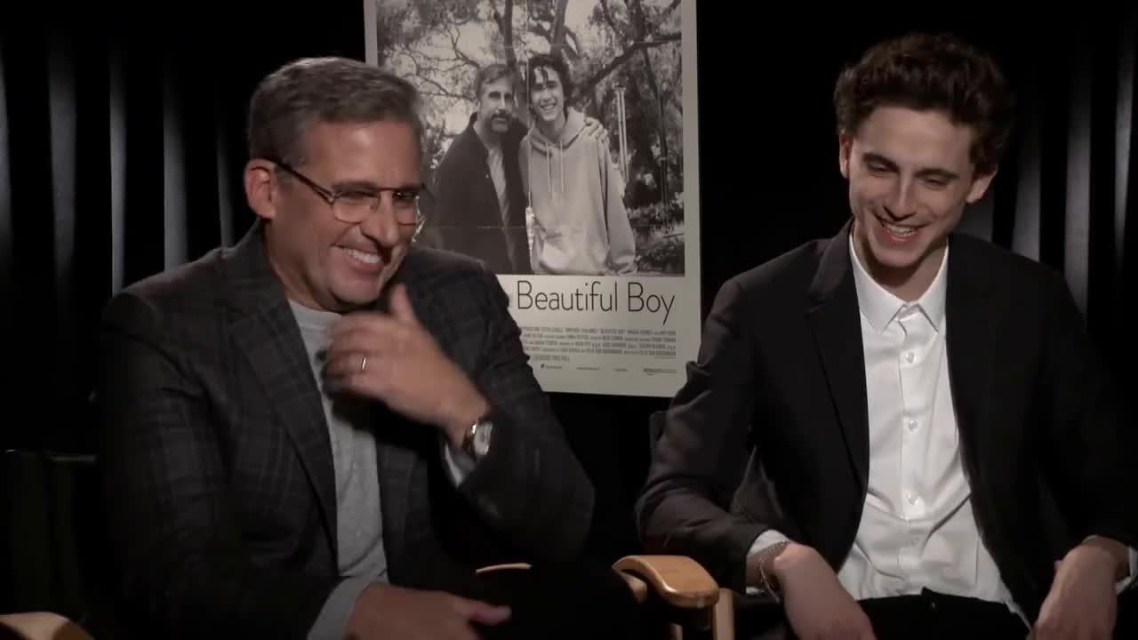 Hollywood, movies, Beautiful Boy interview: Steve Carell & Timothée Chalamet GIFs