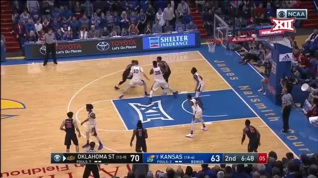 Watch and share Oklahoma State Vs Kansas Basketball 2018 (Feb. 3) GIFs by Pistols Firing on Gfycat