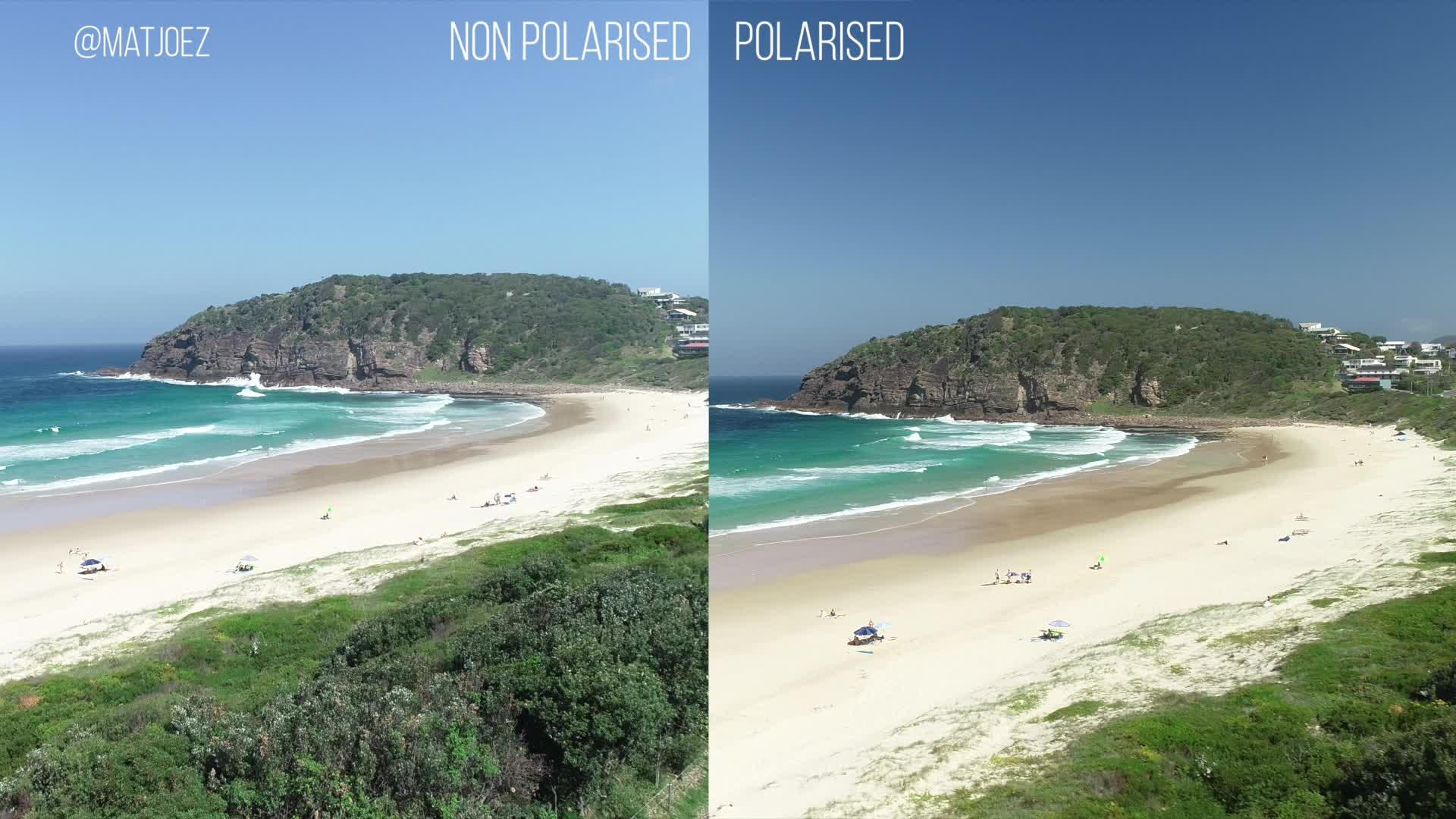 drone, drones, photography, Circular polariser on a drone comparison GIFs