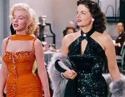 Watch this GIF on Gfycat. Discover more 1950s fashion, 1950s movies, 1950s style, classic hollywood, glamour, golden age, how to marry a millionaire, jane russell, marilyn monroe, musical, vintage GIFs on Gfycat