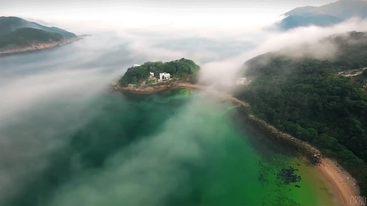 fog, foggy, nature, Fog rolls into Little Palm Beach, Hong Kong. GIFs