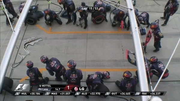 formula1gifs, 2013, a slick 2.5 second pit stop for Seb Vettel. (reddit) GIFs