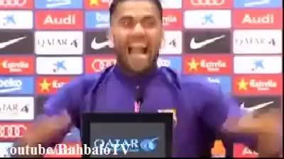 "Watch and share Dani Alves Mocks Cristiano Ronaldo ""Calma Celebration"" At The Press Conference GIFs on Gfycat"