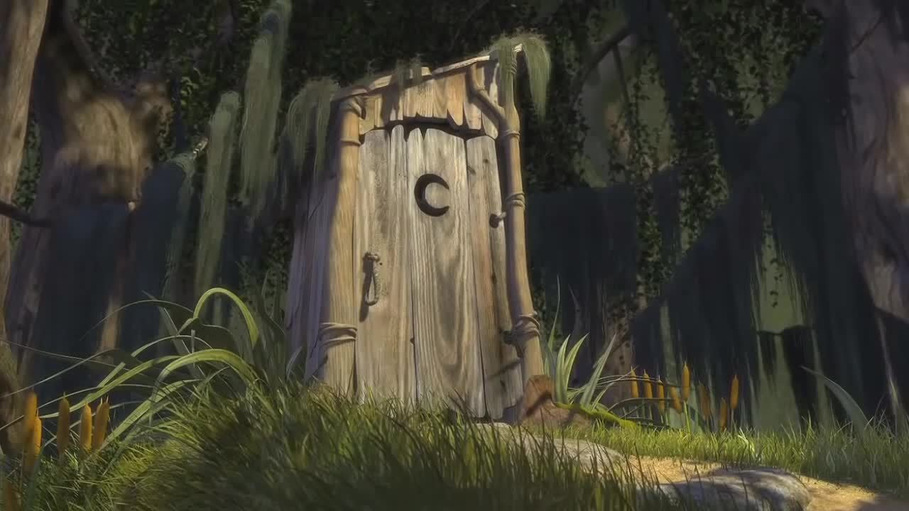 gifrequests, Request for Gif of the scene in shrek where shrek kicks down the outhouse door (when all star starts playing) (reddit) GIFs