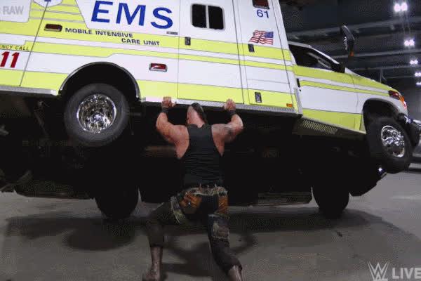 braun strowman ambulance flip roman reigns GIFs