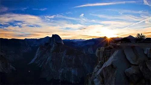 dawn, nature, sun, sunny, sunrise, Yosemite Sunrise : HighQualityGifs GIFs