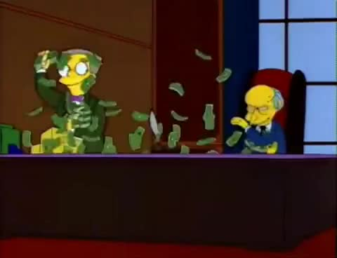 Watch and share Burns Y Smithers Guerra Con Billetes GIFs on Gfycat