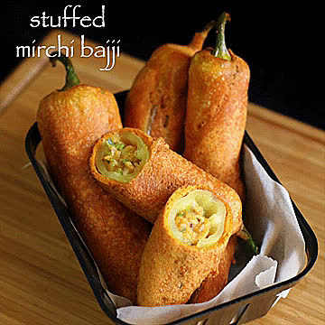 GifRecipes, vegangifrecipes, Stuffed Mirchi Bajji GIFs