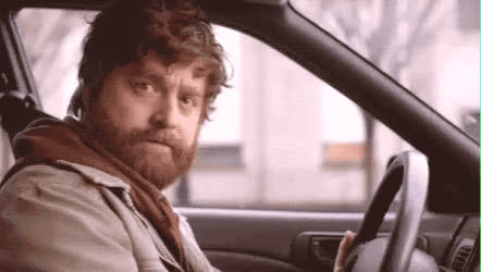 amazed, car, cars, flirt, galifianakis, hey, impressed, sexy, transportation, waiting, yo, zach, Zach GIFs