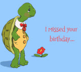 bday, belated, belated birthday, birthday, happy birthday, animated belated birthday photo: Happy Belated Late Birthday Schildkrote turtle animated gif sorry cake sr777233.gif GIFs