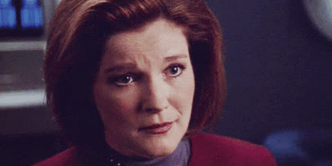 celebrity, celebs, janeway, kate mulgrew, kathryn janeway, laughing, reaction, smile, star trek, star trek voyager, voy, voyager, Janeway Reaction 8 GIFs