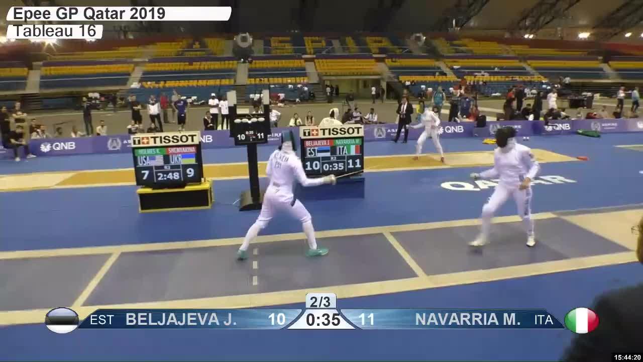 gender:, leftname: BELJAJEVA Jz, leftscore: 11, rightname: V NAVARRIA M, rightscore: 11, time: 00026325, touch: left, tournament: doha2019, weapon: epee, BELJAJEVA Jz 11 GIFs