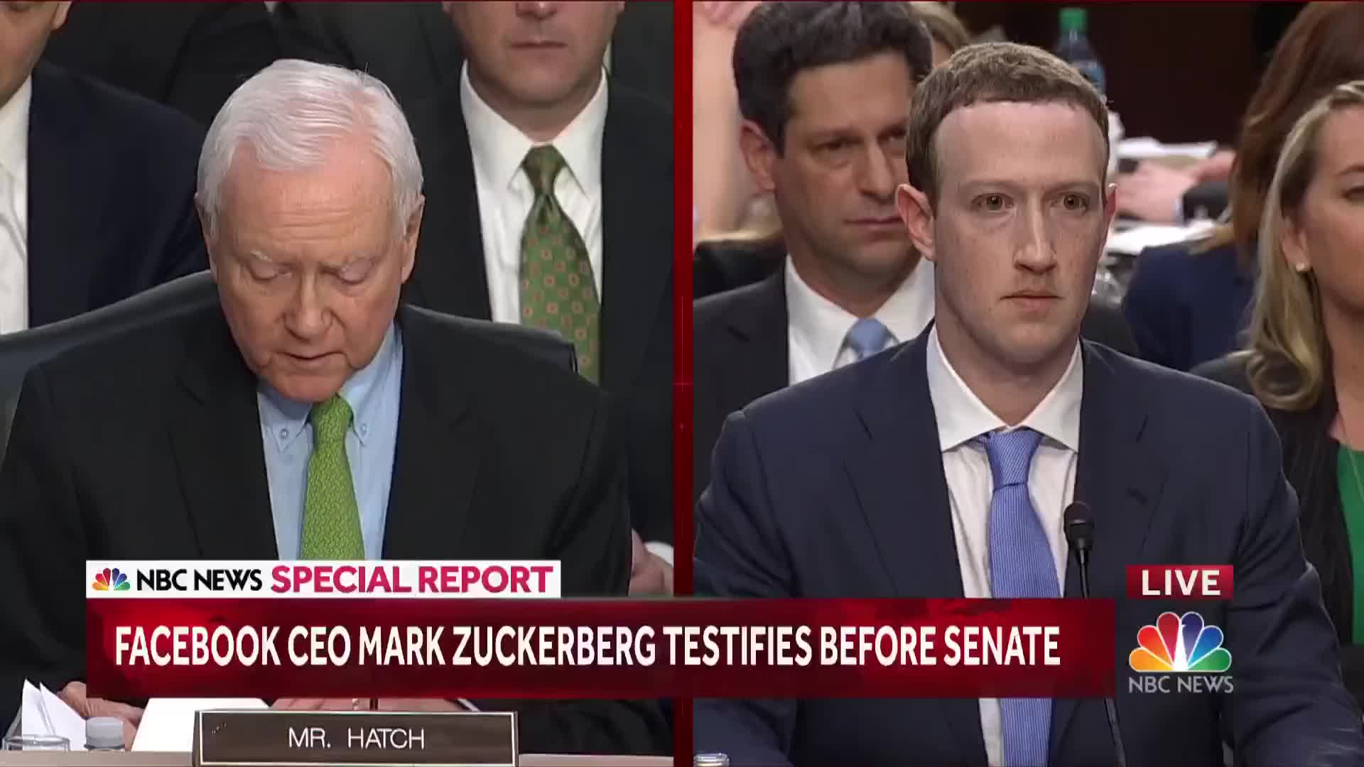 Congress, FB, Facebook, Facebook CEO, Facebook hearing, Mark Zuckerberg, NBC, News, Orrin Harch, Politics, Senate, Senate Judiciary Commitee, Silicon Valley, Social Media, Tech, U.S. News, US Senate, We run Ads, Zuckerberg, Zuckerberg Hearing, Senator Asks How Facebook Remains Free, Mark Zuckerberg Smirks: 'We Run Ads' | NBC News GIFs