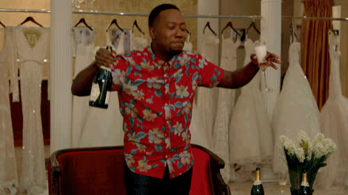 bridal shop, celebrate, champagne, dance, excited, happy, happy dance, new girl, wedding dresses, winston, Winston - New Girl GIFs