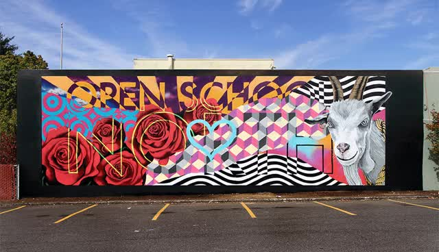 Watch The street artist INSA helped school kids draw a giant psychedelic goat. GIF on Gfycat. Discover more related GIFs on Gfycat