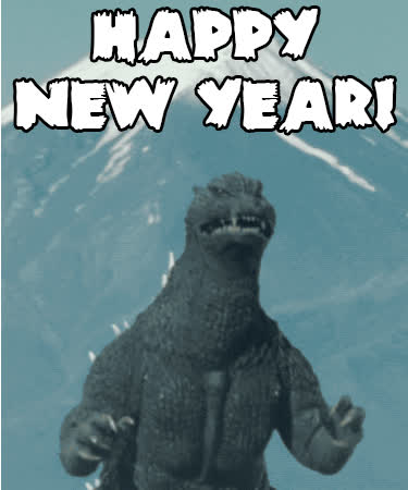 godzilla, happy new year, new year, new years, happy new year godzilla animated GIFs