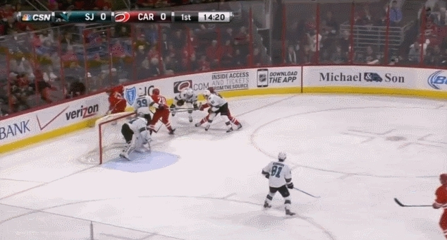 sanjosesharks, Bishop loses his stick, Boyle gives his stick to Bishop. turns out goalies look comical with a regular stick. (reddit) GIFs