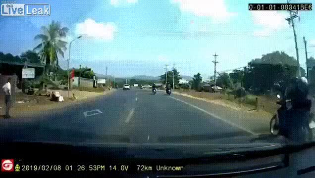 Watch Truck hits a motorcyclist into another GIF on Gfycat. Discover more related GIFs on Gfycat