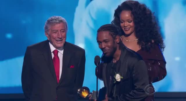 Watch Kendrick and Rihanna win! GRAMMYs 2018 GIF by GIF Reactions (@visualecho) on Gfycat. Discover more GRAMMYs, GRAMMYs 2018, GRAMMYs2018, Rihanna, kendrick lamar, tony bennett GIFs on Gfycat